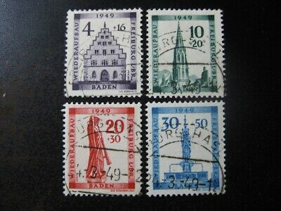 BADEN FRENCH OCCUPATION Mi. #38A-41A scarce used stamp set! CV $240.00