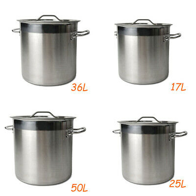 17/25/36/50L Boiling Deep Stockpot Stainless Steel Cooking Stock Pot Catering
