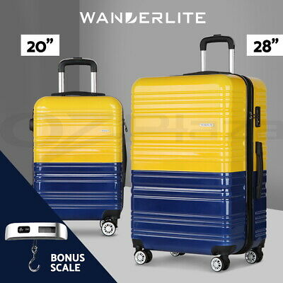 Wanderlite 2pc Luggage Sets Yellow Suitcase Set TSA Hard Case Lightweight