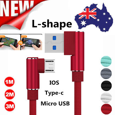 AU 90° Elbow Charger IOS Micro USB C Fast Charging Cable For iPhone Samsung S6