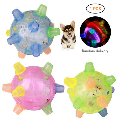 Pet Dog Cat Flashing Games Ball Toy LED Puppy Play Chew Toys Jumping Joggle New