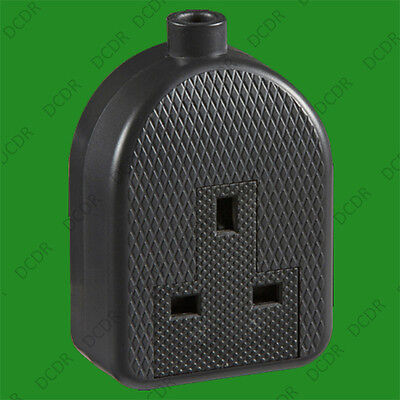 13A Black High Impact Rubber UK 3 Pin Mains Extension Trailing Socket Plug 1 Way