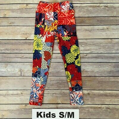 S/M LuLaRoe Kids Leggings; Multicolor Floral; Yellow Red Blue; Fits 2-8