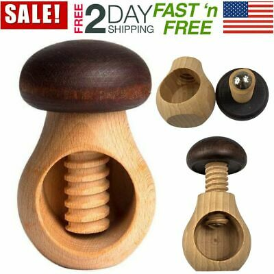Mushroom Wooden Nutcracker Handmade NEW FAST SHIPPING