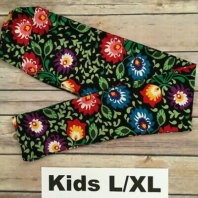 L/XL LuLaRoe Kids Leggings; MULTICOLOR BRIGHT FLORAL PATTERN; Fits 8-14