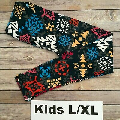 L/XL LuLaRoe Kids Leggings; MULTICOLOR AZTEC PATTERN; Fits 8-14; FREE SHIPPING!