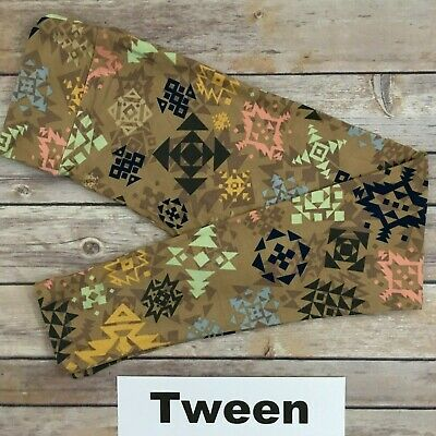 TWEEN LuLaRoe Kids Leggings; TAN & Multicolor Aztec; Fits 00-0; FREE SHIP