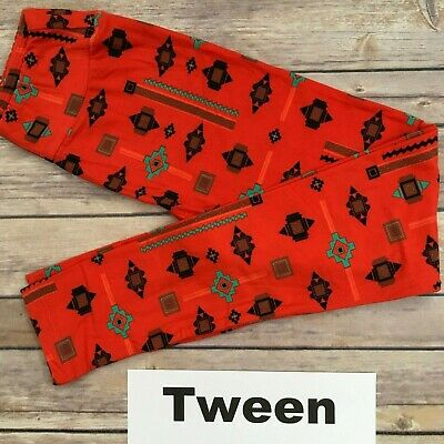 TWEEN LuLaRoe Kids Leggings; Red Black Turquoise Aztec Pattern; Fits 00-0