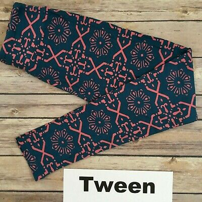 TWEEN LuLaRoe Kids Leggings; Pink & Dusty Teal Blue Pattern; Fits 00-0