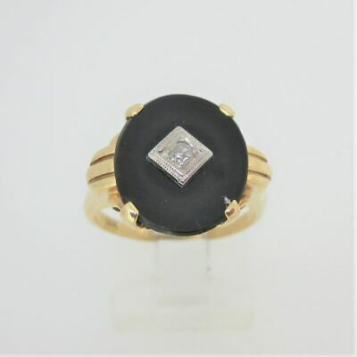 Vintage 14k Yellow Gold Art Deco Black Onyx Ring with Diamond Accent Size 6.25