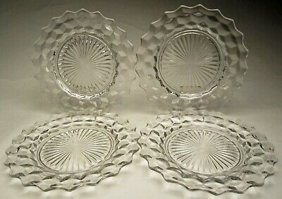 """American by Fostoria, 4 Clear Glass Lunch Plates 8 ½"""" wide No. 2056 made 1915-86"""