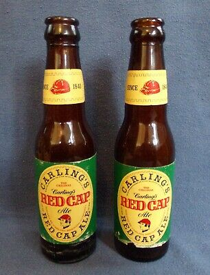 2 Carling's Red Cap Ale/Beer 7 fl oz Bottles Brewed by Carling Brewing Natick MA