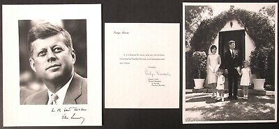 John F Kennedy 2 Photos & Letter From His Personal Secretary Evelyn Lincoln