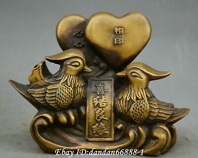 China fengshui old Bronze Love Birds mandarin duck affectionate couple Statue w7