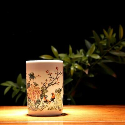 """Old Chinese qing Dynasty marked famille rose flower bird pattern brush pot 4.4"""""""
