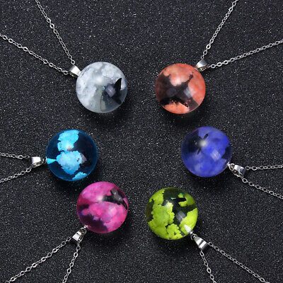 Transparent Resin Glass Round Ball Pendant Women Blue Sky White CloudNecklace