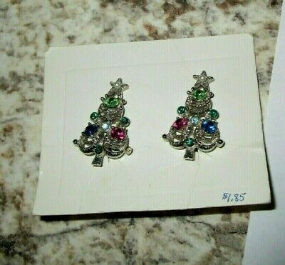 Vtg SILVER TN Rhinestone Fx Pearl Mid Century CHRISTMAS TREE CLIP EARRINGS Retro