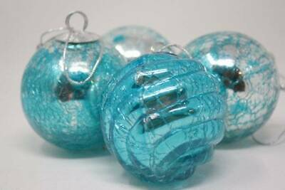 """Vintage Style Kugel Crackle Glass Christmas Ornaments Lot 4 Silver Turquoise 3""""."""