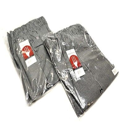 "(2) NEW Chef Works NBCP-000-XL Checkered Baggy Designer chef Pants ""xl"""