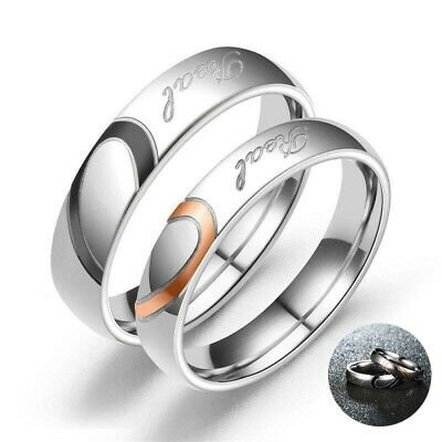 Heart Engagement Love Ring Couples Wedding Real Promise Steel Stainless Band