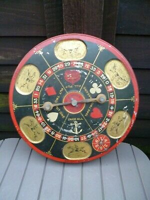 DISC O' GAMES Vintage Tin Plate Horse Racing Gambling Spinner Roulette Xmas fun