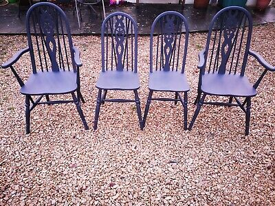 Set Of Four Solid Elm Old Charm Dining Chairs In Athenian Black Annie Sloan