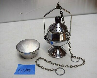 Used Silver Colored Single Chain Church Censer Thurible with Boat (CU744)
