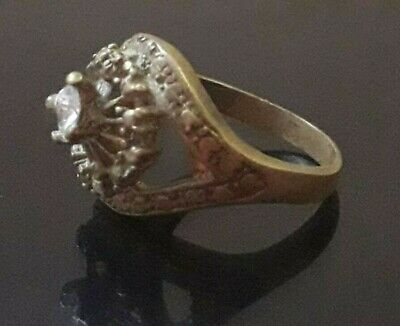 Ancient Viking Old Bronze Antique Unique Ring Runic Very Rare Wedding Old Stone