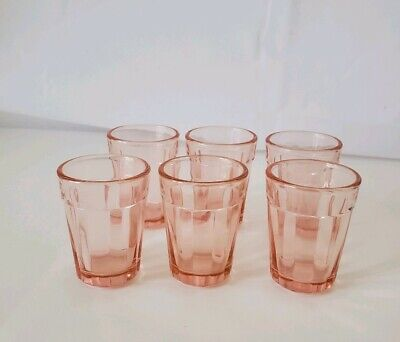 Vintage Set Lot 6 Pink Depression Mini Shot glasses Victorian block pattern 2""