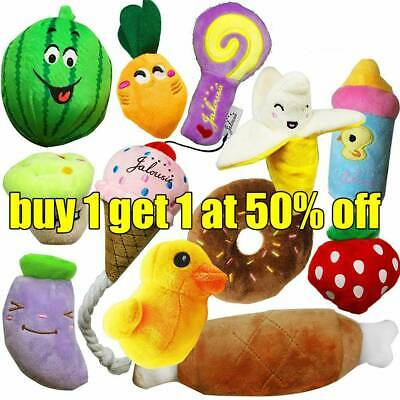 12Type Pet Dog Soft Chew Toy Puppy Doggy Plush Sound Eggplant Carrot Squeaker AB