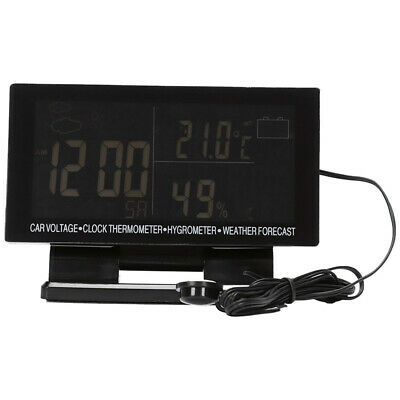 4 In 1 Digital Car Thermometer Hygrometer Dc 12V Lcd Vehicle Voltage Clock  E8N3