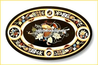 3'x2' Oval Marble Dining Table Inlay Floral Marquetry Kitchen Rare Decor H4573
