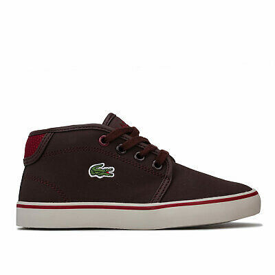 Lace Fastening Children Boys Lacoste Riberac Trainers In Khaki Cushioned
