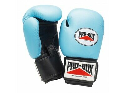 Pro Box Boxing Gloves Leather Sparring Training 10oz Baby Blue