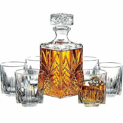 7-Piece Italian Crafted Glass Decanter & Whisky Glasses Set, Clear