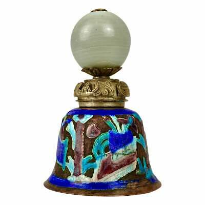 Chinese Immortal Bell Enameled Cloisonne Copper Asian Silver Antique Early 20th