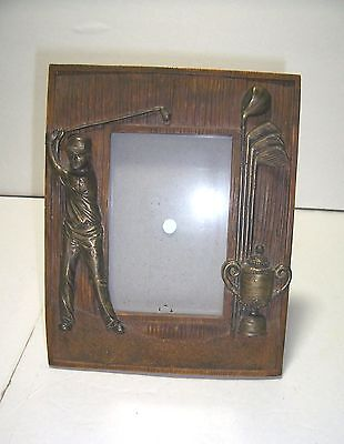 Retro Rustic Look Hand Painted Dezine Picture Frame Golfer Trophy Clubs Mancave