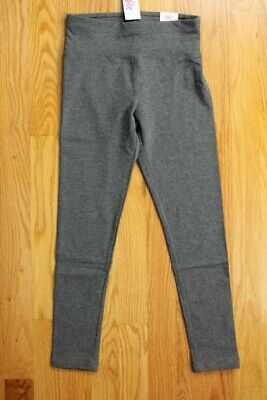 Justice Girls' Solid Gray Full Length Leggings, Size 12 - Wide Waistband