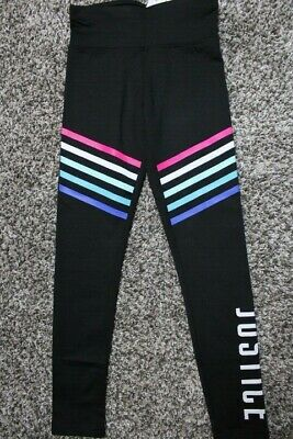 "Justice Girls' Size 12 Black Full Length Leggings - ""JUSTICE"" & Colored Stripes"