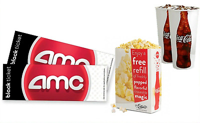 AMC Movie Theater 2 black tickets + 2 Fountain Drinks + 1 Popcorn EMAILED