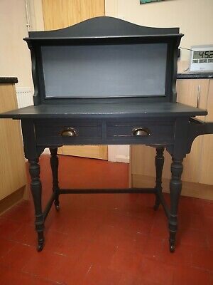 Antique Victorian Solid Oak Marble Top Wash Stand Athenian Black Annie Sloan
