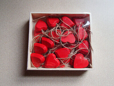 Red Wooden Heart Ornaments Box of 24 for Christmas Valentine