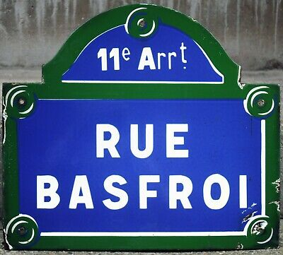 Old French street sign road name plaque Basfroi bell tower Paris Bastille 11e