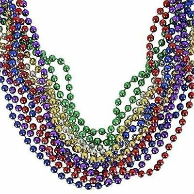 Rhode Island Novelty 33 inch - 7 mm Mardi Gras Beads Assorted Colors Pack of 12