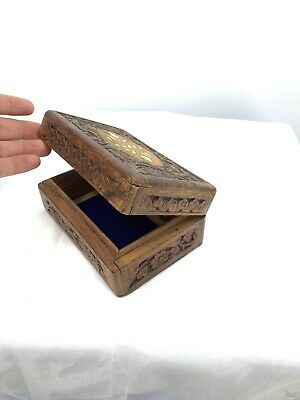 Vintage Hand Carved Jewelry Box Wooden Hinge Inlay Dresser Decor