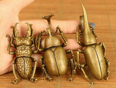 Chinese old bronze hand casting three beetle statue Tea pet tray decoration gift