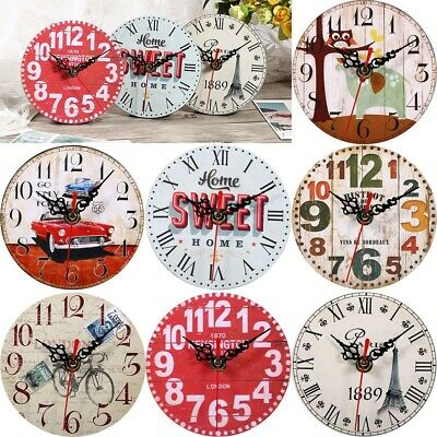 Vintage Wooden Wall Clock Shabby Chic Rustic Kitchen Home Antique Decor Clocks