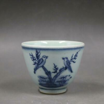 """Old Chinese Porcelain qing Blue white flower Magpie pattern teacup 3""""  s67"""