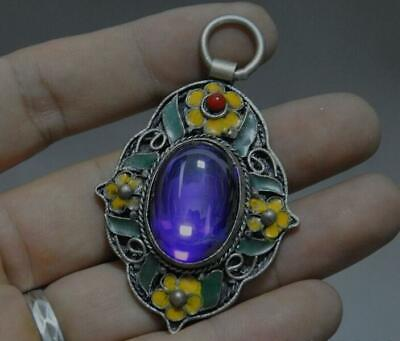 Collect Chinese Tibet silver Cloisonne inlay gem flower statue jewelry Pendant s
