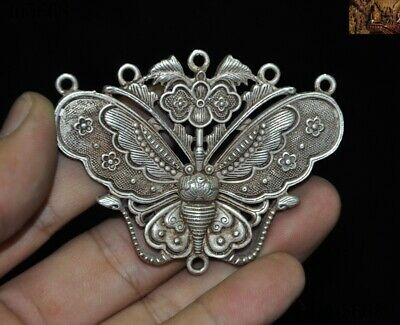 China folk Collect Tibet silver animal Butterfly statue Exorcism amulet Pendant